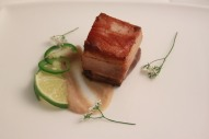 Pork Belly, Masa, Lime, Chile, Coriander Blossom