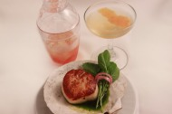 Scallop Brulee, Cress, Olive Oil, Pickled Shallot Botanist Gin, Gran Classico, Grapefruit, Demerara Syrup, Pink Pepper Cubes