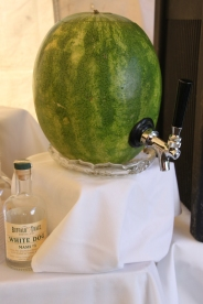 clear watermelon moonshine cocktails accompanied by our area's finest local beers
