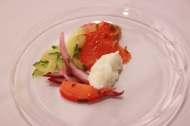 "Sake Salmon ""Gravlax"", Pickled Slaw, Apple Crème Fraiche"